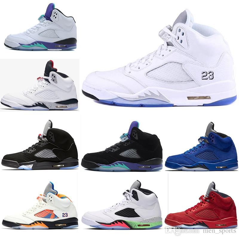 2d93d21df8d3 2019 Mens Basketball Shoes 5 5s Blue Red Suede White Cement Space Jam Oreo  OG Metallic Black Olympic Sports Sneakers Size 40-47 5s Basketball Shoes  Sneakers ...