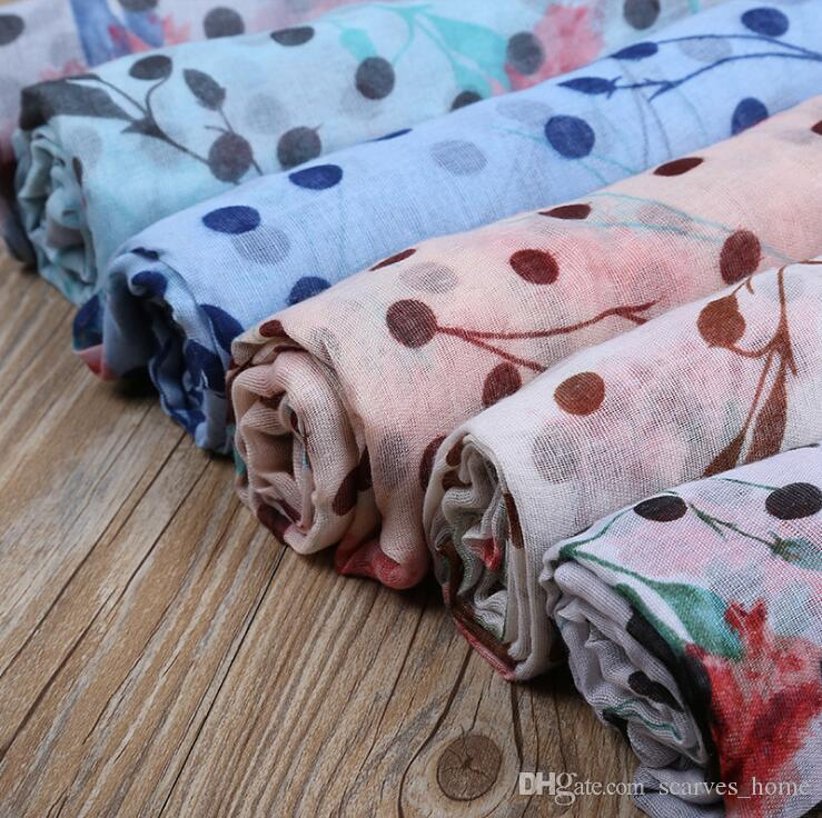 Os Mais Novos Cravos Padrão Flor Lenço Mulheres Dot E Floral Padrão Xales Cachecóis Muçulmanos Ponto Envoltório Hijab Mãe Presentes 6 cores