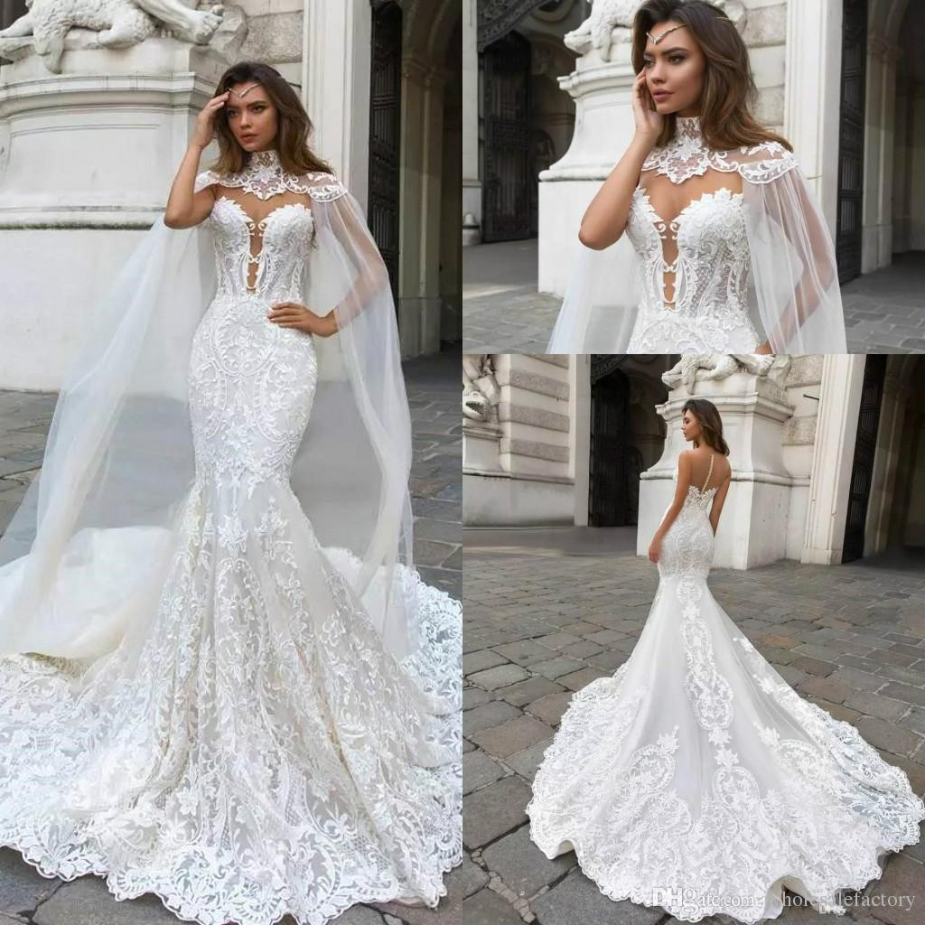 Mermaid Wedding Gowns 2019: 2019 Lace Mermaid Wedding Dresses Caped Sheer Mesh Top