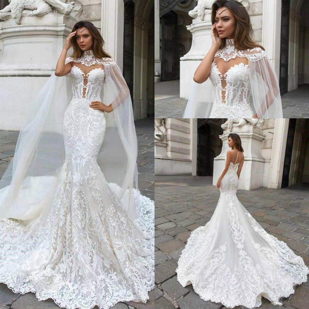 2019 Lace Mermaid Wedding Dresses Caped Sheer Mesh Top