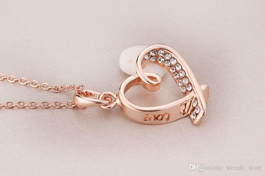 Crystal color of love of the heart pendants necklaces for gifts of Valentine 's day beautiful jewelry pendants