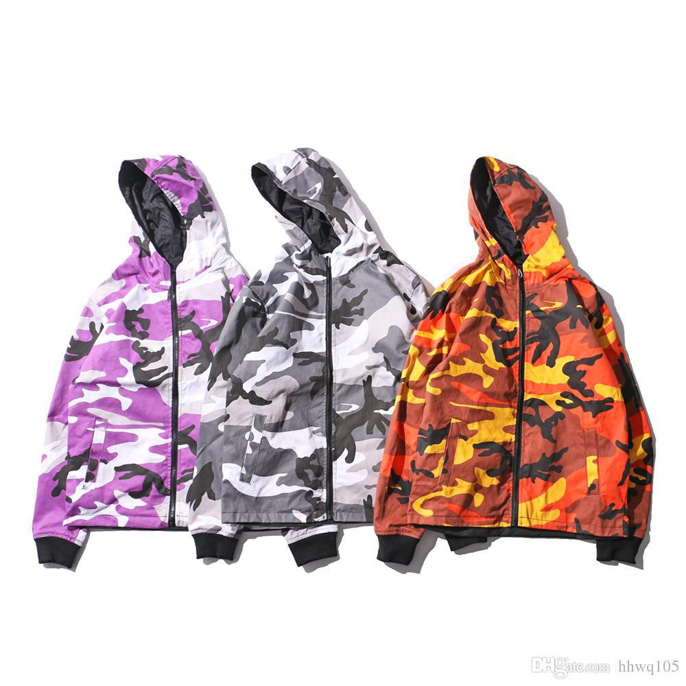 cb19aaa81242b 2018 Camouflage Print Reversible Jacket Men Hip Hop Outerwear Coat Hooded  Zip Up Oversized Hoodies Jackets Winter Coats BFSH0508 Mens Jackets With  Hoods ...