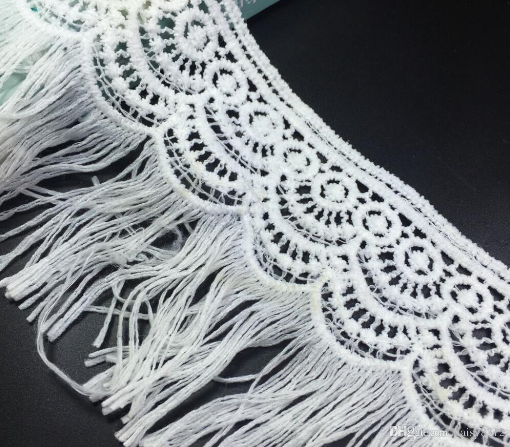 15Yard White Embroidered Tassels Wave chiffion Lace Fabric Trim Ribbon For Apparel Sewing DIY Doll Cap Hair clip
