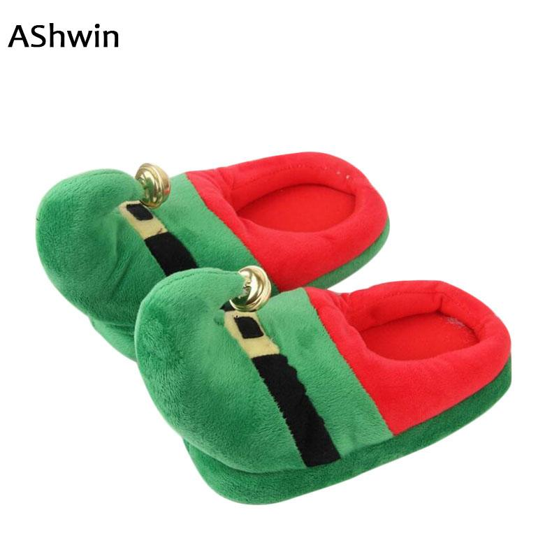 ashwin christmas slippers men women lovers cotton slippers winter home cotton padded plush indoor shoes snowshoes booties mens boots from conglan