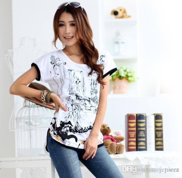 9cdf21e5dd7 Wholesale L XXXL Summer New Arrivals T Shirts Plus Size Women S T Shirts  Cotton O Neck Slim Tops Lady Butterfly Printed Tee Tee Shirt Funny Tee Shirt  ...
