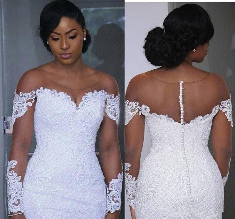 7e1cc21cde6240 South African Glamor Mermaid Wedding Dresses Sexy Illusion Chapel ...