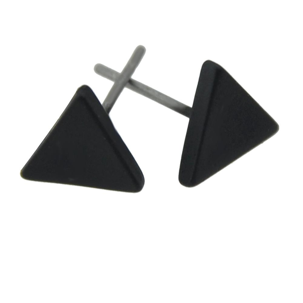 FANHUA Gold-Color Silver Color Black Color Small Triangle Stud Earrings Punk Rock Earrings Brincos Minimalist Jewelry