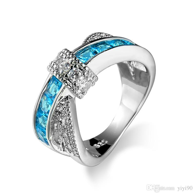 Fashion Blue Aquamarine Cross Cubic Zirconia White Gold Plated Rings Size 6/7/8/9/10 Women Men's Engagement Gift