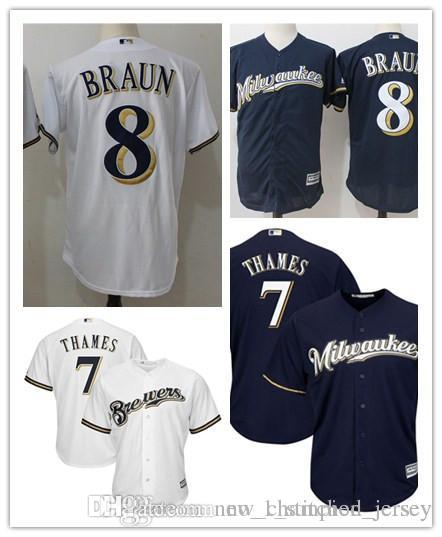 ded2efc84 Men s 8 Ryan Braun 7 Eric Thames Baseball Jerseys Milwaukee Brewers  Embroidery Jersey Majestic White Home Cool Base Player Replica Jers MLB  Jersey Stitched ...