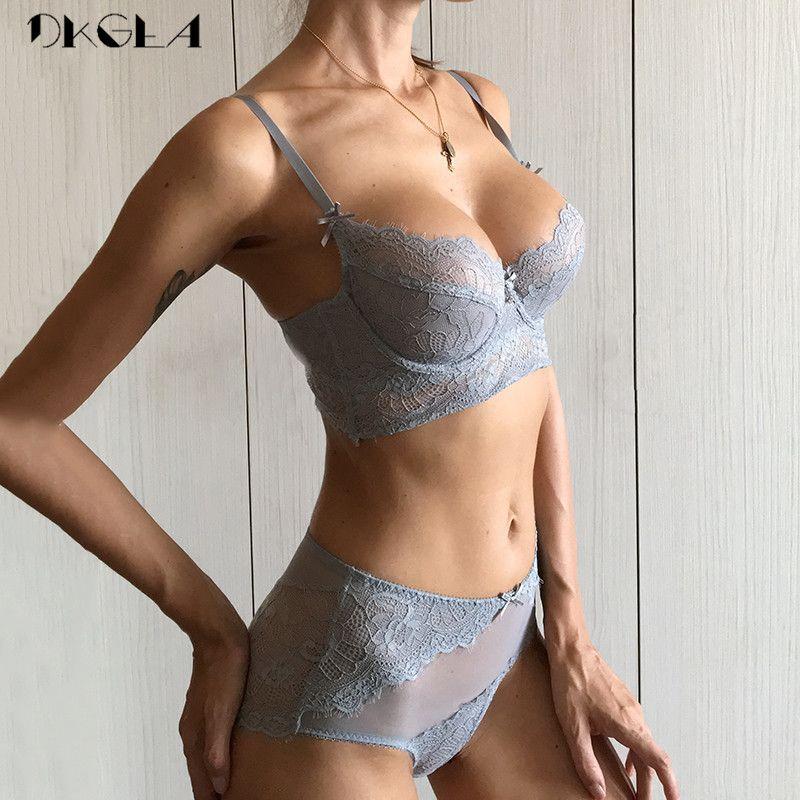 e42a1f944e277 Deep V Sexy Underwear Ultrathin Bra Set Plus Size Brassiere Green Women Lingerie  Set Lace Embroidery Transparent Bra Panties Set C18111601 Underwear Set ...