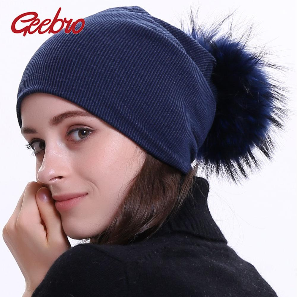 4760f9df45d Geebro Women S Winter Beanie Knitted Ribbed Beanies Hat With Pompom Cap  Solid Color Slouch Hats Skullies Chapeu Feminino DQ423M D18110601 Hats  Online Caps ...