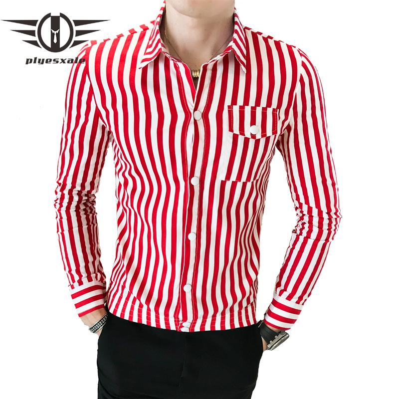 Compre Plyesxale Camisa A Rayas Rojas Negras Camisas De Hombre Con Manga  Larga Camisas Casuales Para Hombres Diseños Primavera Otoño Camisa  Masculina S5 A ... 3ecb305d7ce