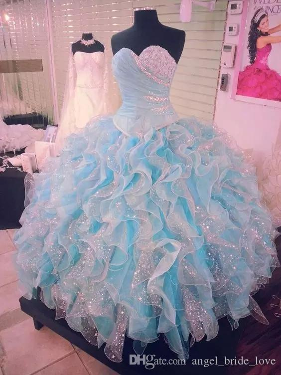 2018 New Light Sky Blue Beaded Ball Gown Quinceanera Dresses Sweetheart Neckline Pleated Prom Gowns Organza Ruffled Sweet 16 Dress Q64