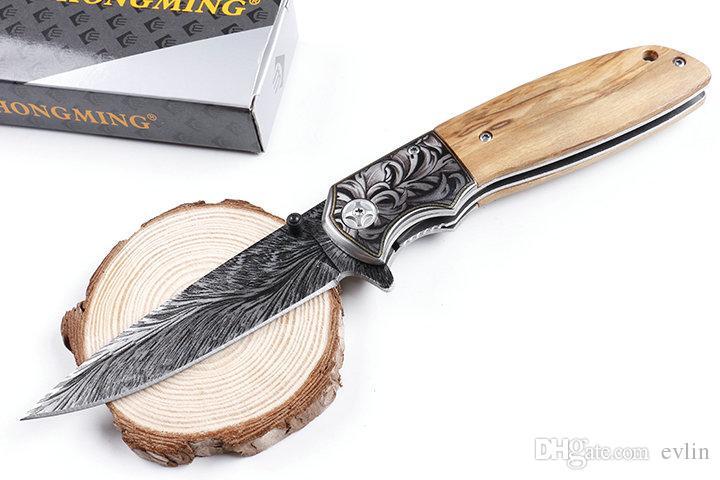 Promoção 2018 Novo design China Feito CM77 3D tático faca dobrável 440C lâmina madeira identificador EDC Canivetes com Retail Box Package