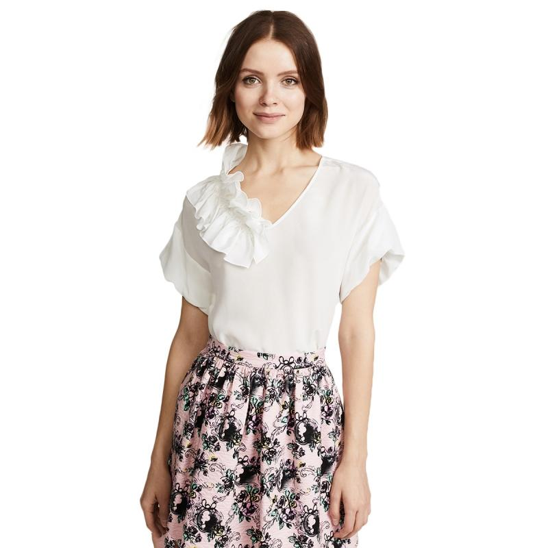 27f94bd3e2b 2019 HDY Chiffon Blouse White V Neck Office Women Blouse Short Sleeve Women Top  Shirt Summer 2018 Ruffles Korean Style From Luweiha