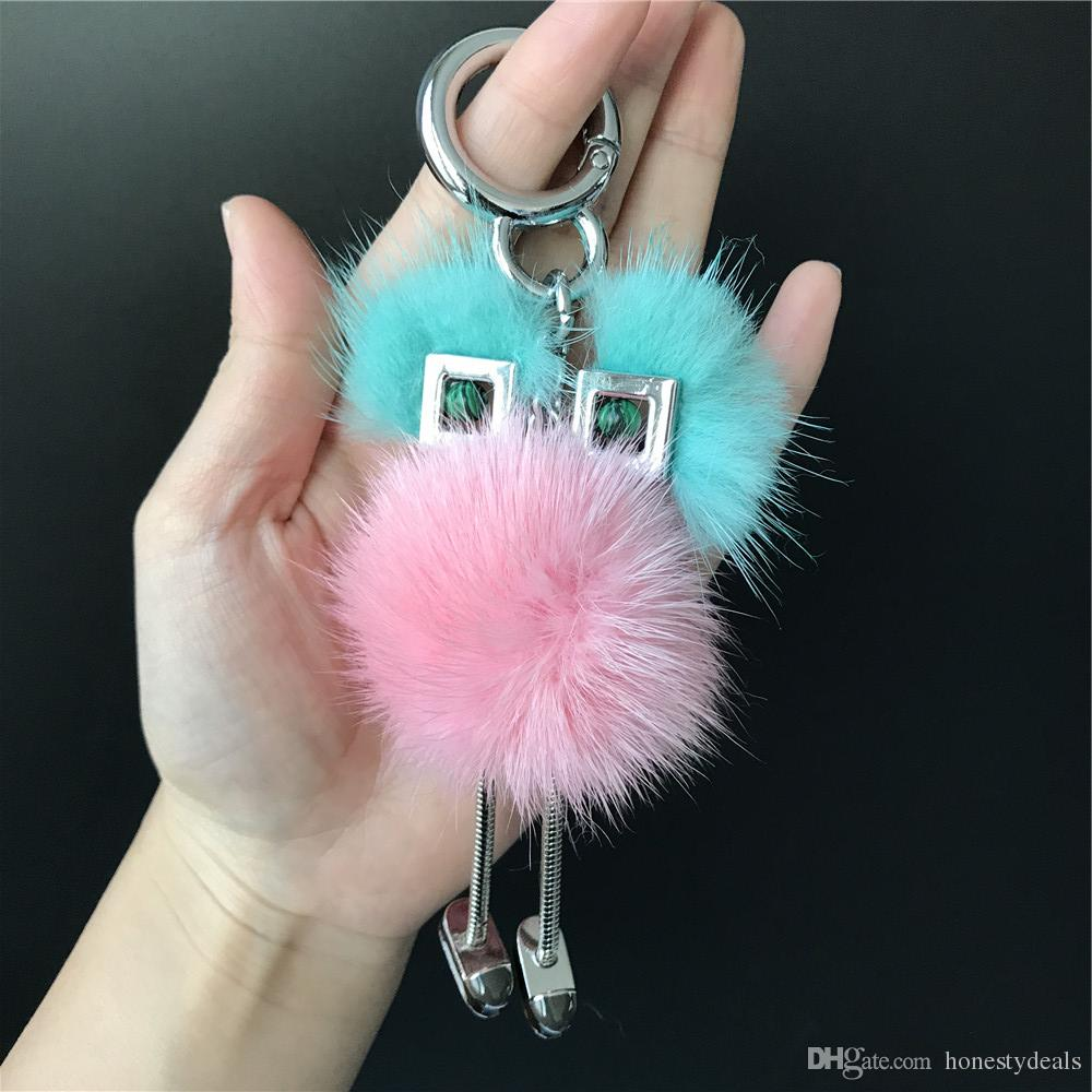e5a41edd61 Cyan/Pink Genuine Real Fur Chick Bag Bug Charm Monster Fur Ball Pompom Charm  Keychain Unique Keychains Keychain From Honestydeals, $36.18  DHgate.Com