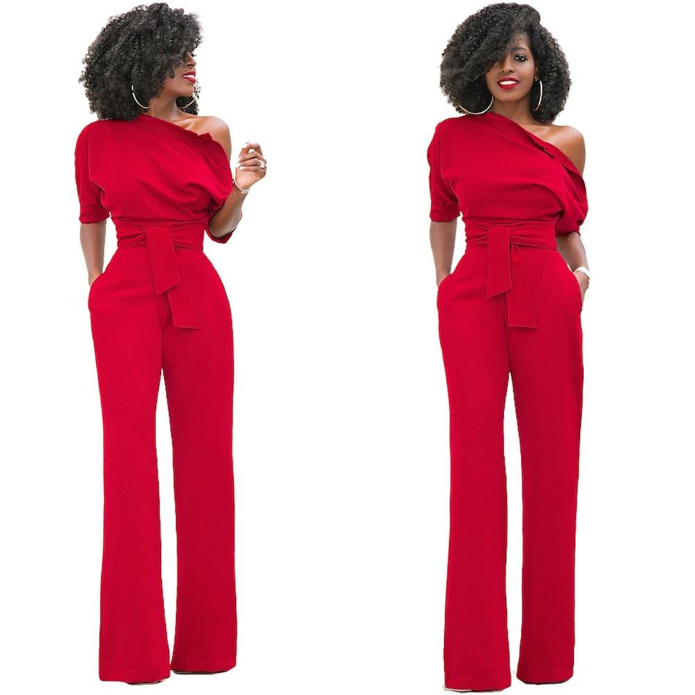 bc7265b8f9d74 HAOOHU Shoulder Sashes Sexy Women Jumpsuit Romper Fashion Half Sleeve  Pockets Rompers Womens Jumpsuit Casual Ladies Jumpsuits