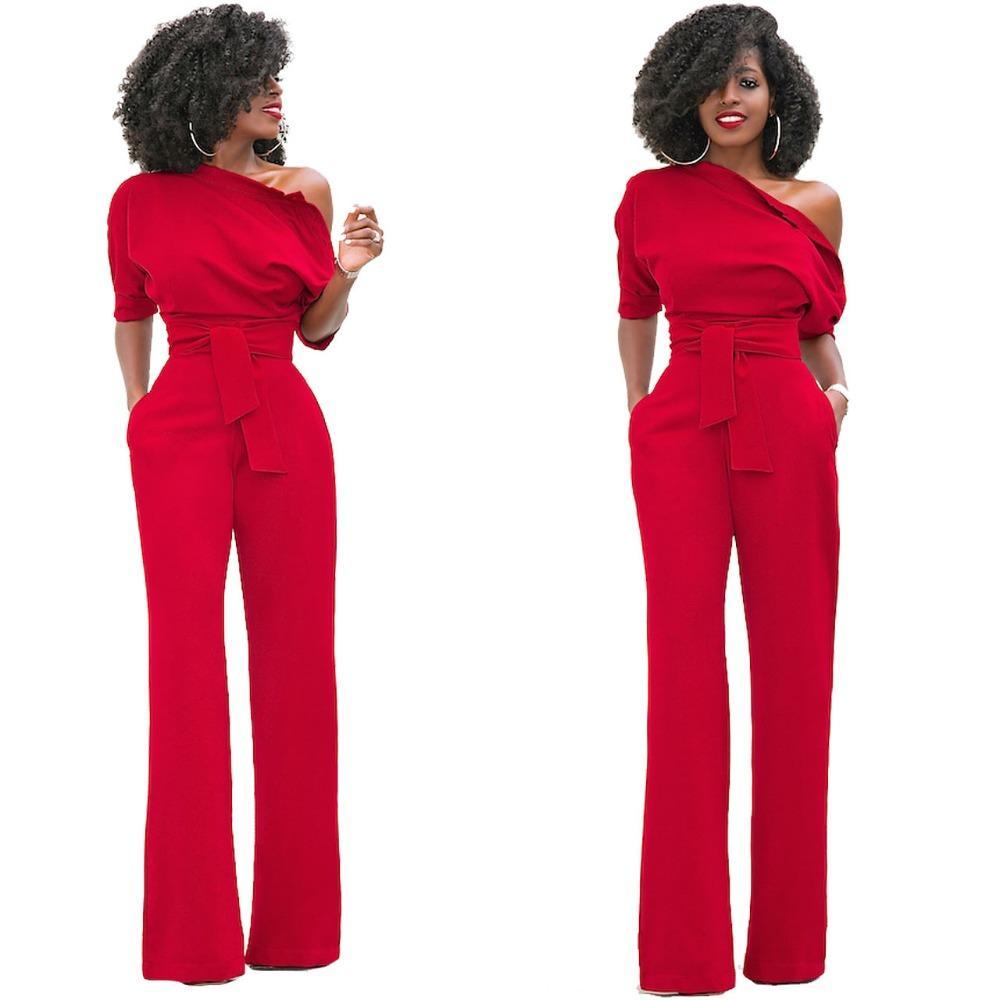 16d2b7110e46 HAOOHU Shoulder Sashes Sexy Women Jumpsuit Romper Fashion Half ...