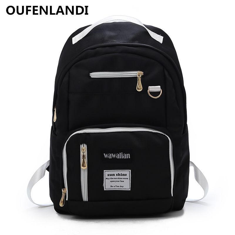 4e910dfecde OUFENLANDI 2018 New Nylon Women s Backpack Ladies Shoulder School ...