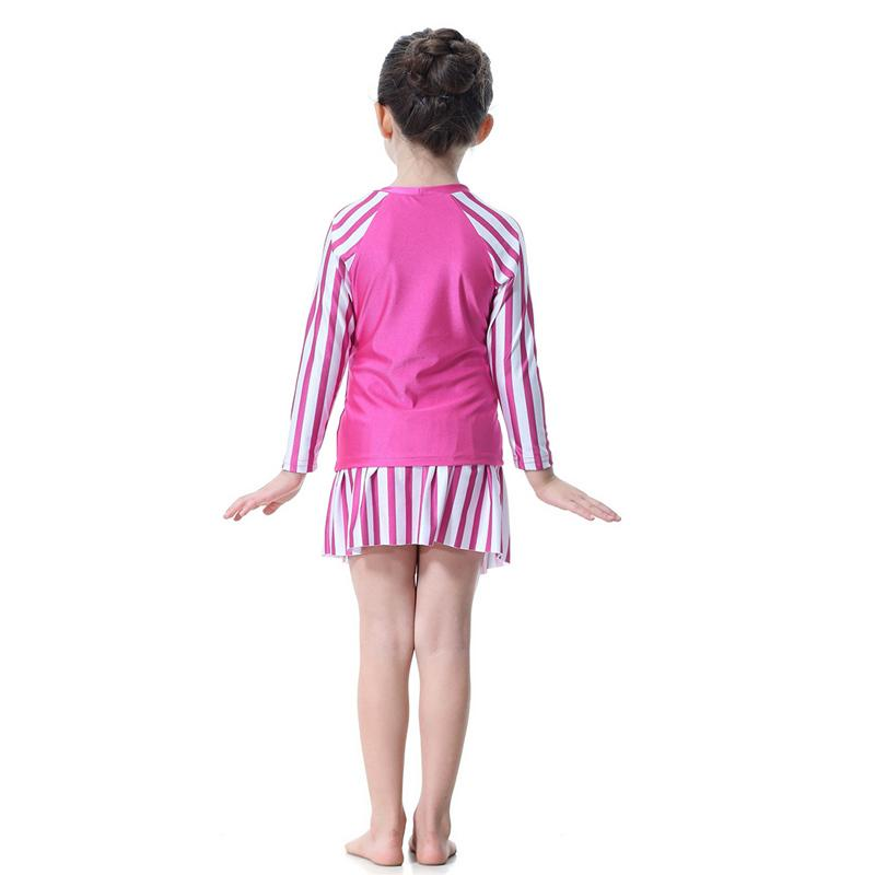 Cute Striped Swimsuit Girls Long Sleeve Girls Swimwear Muslim Arabic Swimming Clothes Modest Swimwear Cheap Modest Swimsuits
