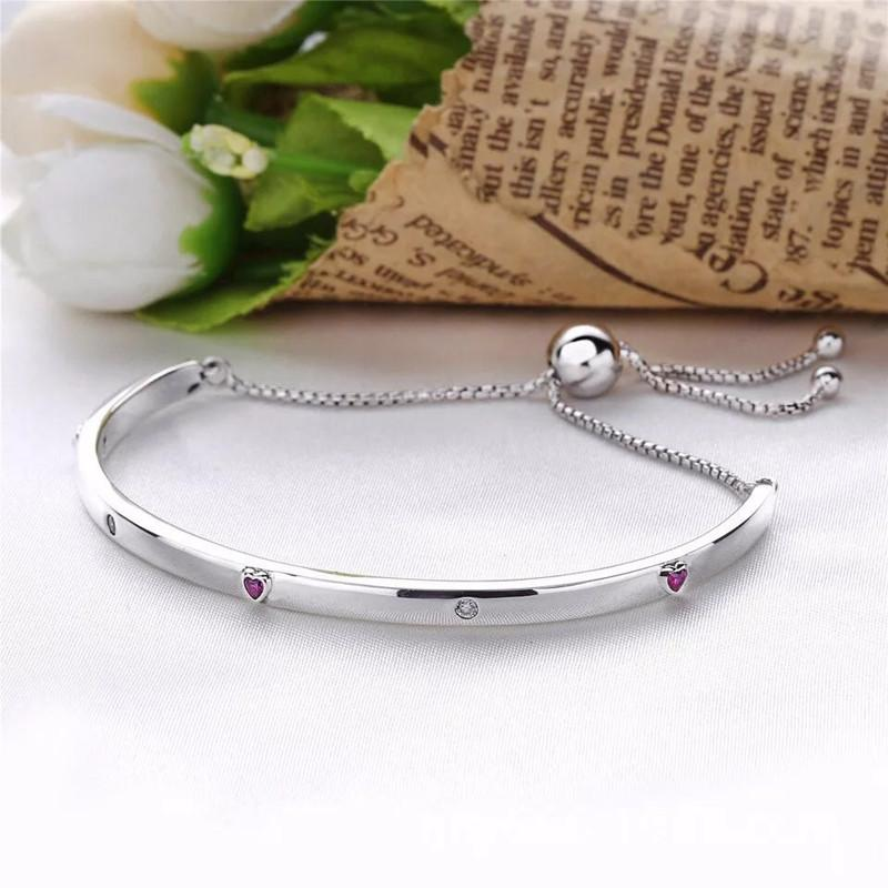 12a7cfda4908 Perfect Engraved Charm Logo S925 Silver Bangle Women Explosion Of Love  Bracelet Ales Fancy Fuchsia Pink   Clear Cz