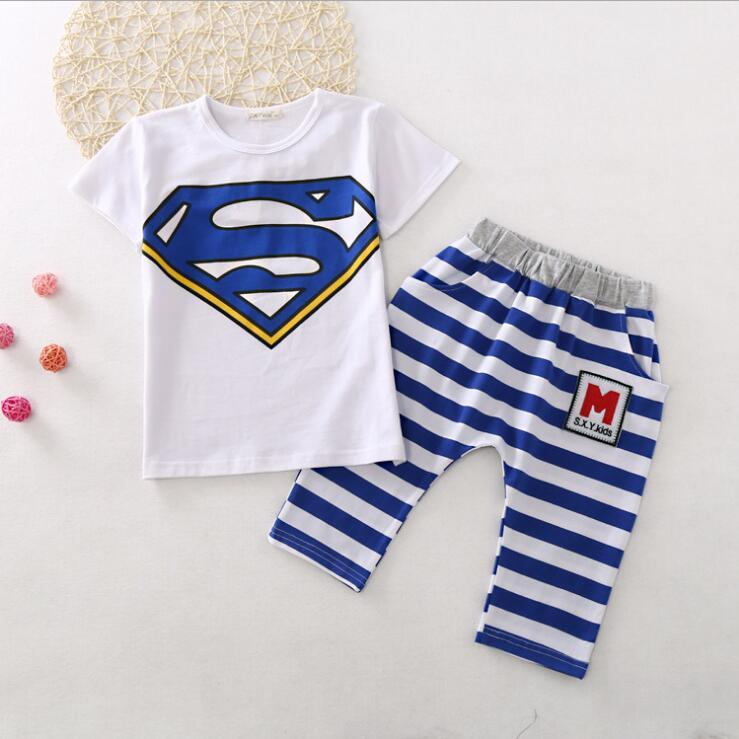 Wholesale Brand Logo Print Famous Designer Baby Kids Clothes Two Piece Set Cute Animal Print Summer Shirt Set