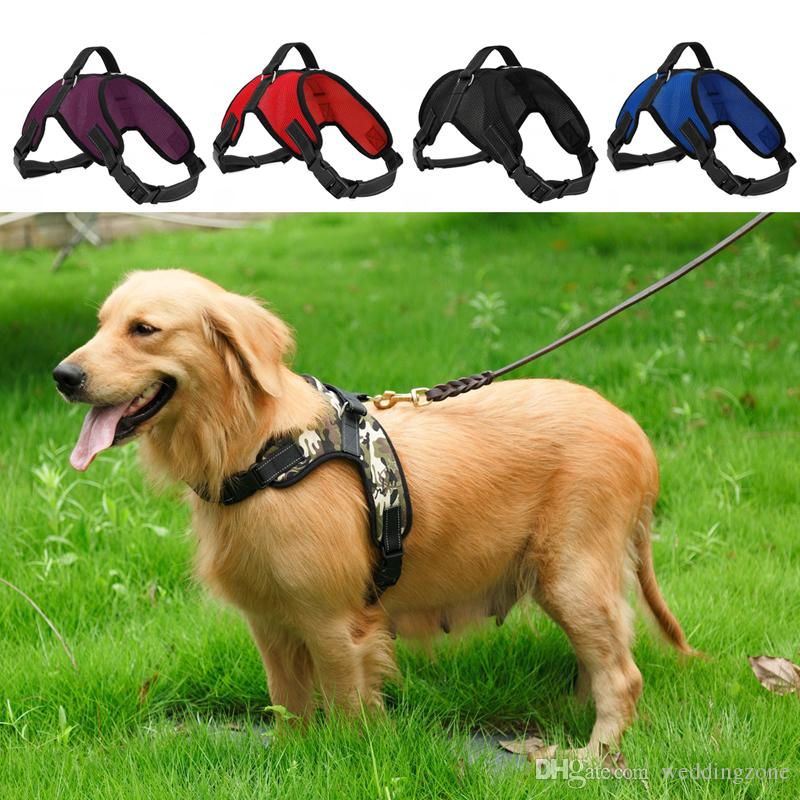 Adjustable Dog Harness Vest Collar Net cloth Big Dog Rope Collar Hand Strap Pet Traction Rope