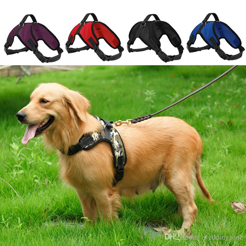 Ajustable Dog Harness Chaleco Collar Net cloth Big Dog Rope Collar Hand Correa Pet Traction Rope For Large dog