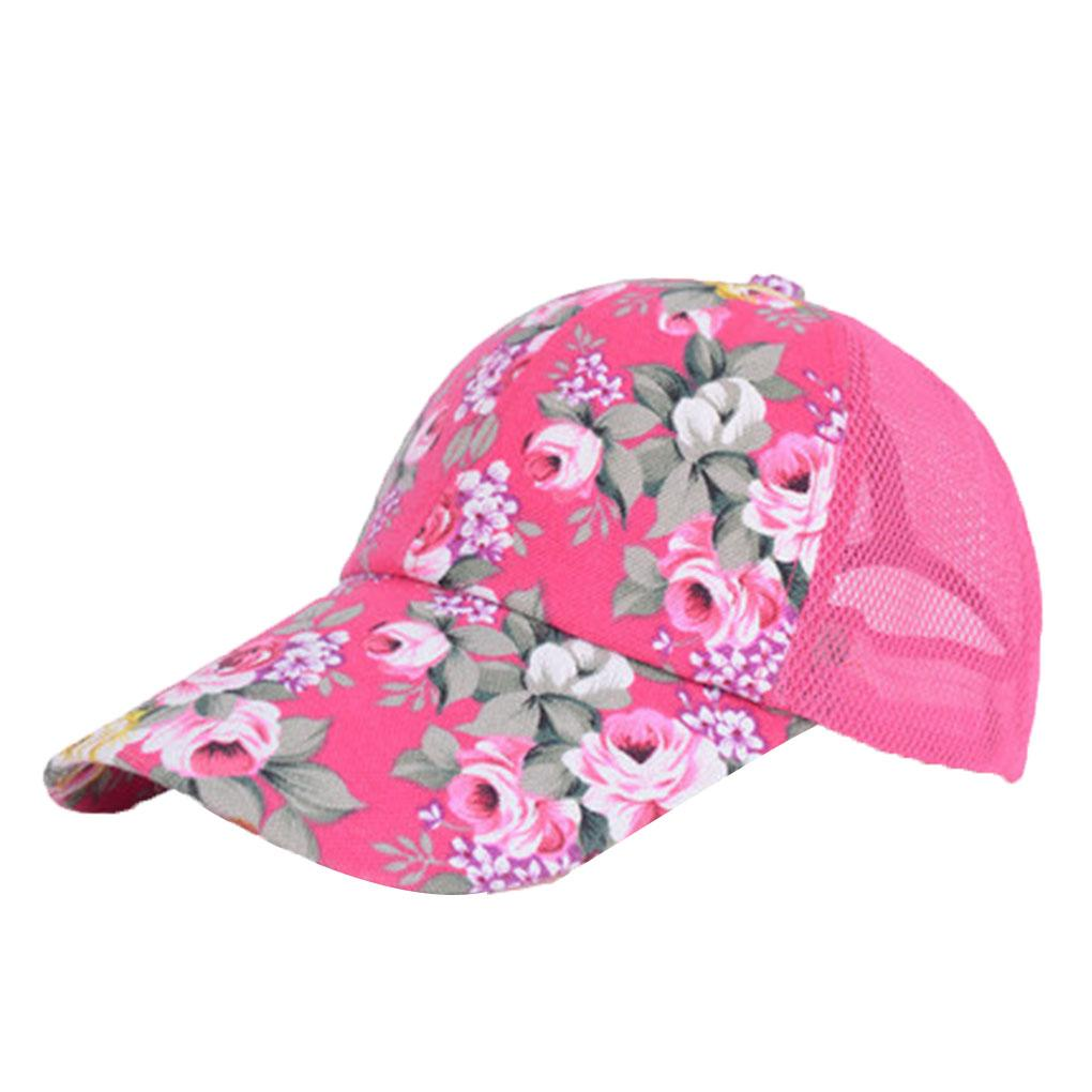 48075dfc829 Floral Printed Women Girl Mesh Breathable Baseball Caps Adjustable Summer  Flat Cap Hat Hat Embroidery Cap Rack From Duoyun