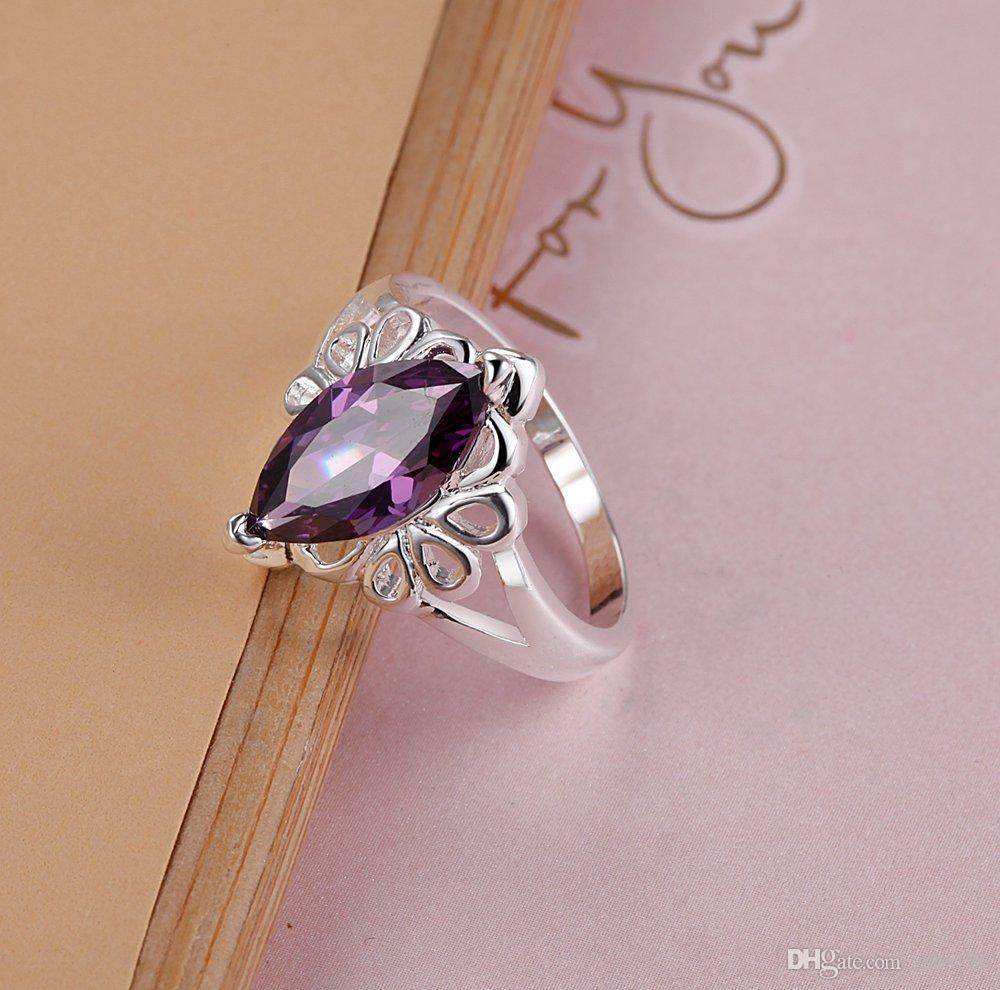Wholesale 925 Sterling Silver Pltaed Finger Ring with Zircon Fashion Woman Party Jewelry Birthday Gift Size 6-9#
