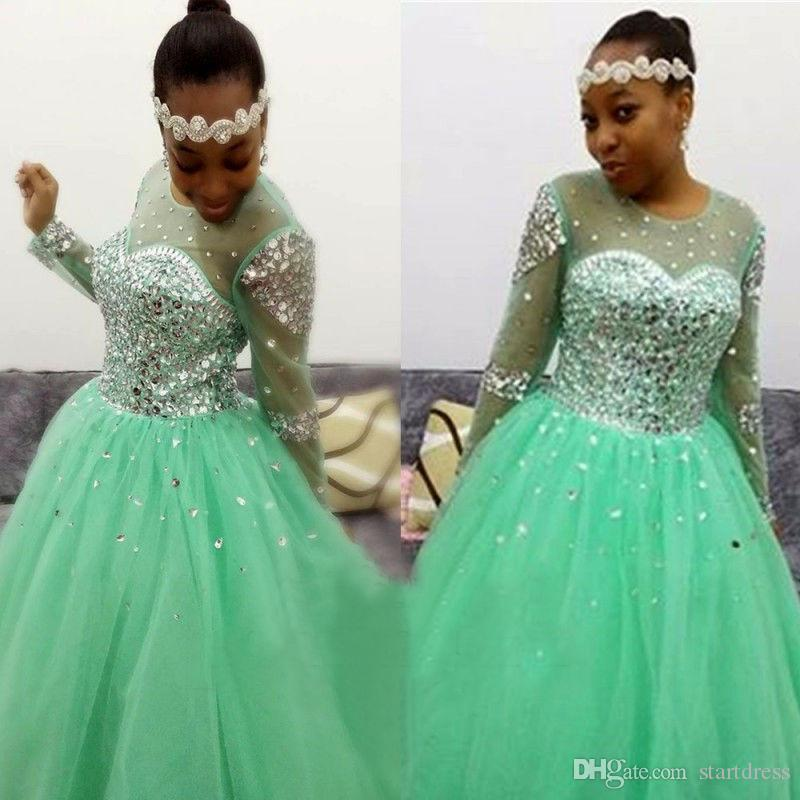 Sparkly Green Jewel Ball Gown Prom Dresses Top Crystal Bead Open Back Formal Party Evening Lace Up Tulle Floor Length arabic Long Sleeve
