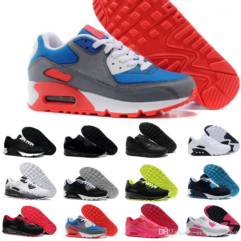 buy online fe117 4fc7c Acquista Nike Air Max Airmaxvendita Calda Uomo E Donnascarpe Scarpe  Classiche 90 Scarpe Da Corsa Nero Rosso Bianco Sport Trainer Cuscino Scarpe  Sportive Di ...