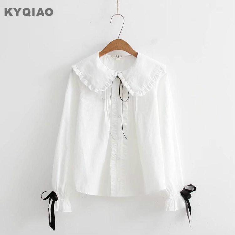 88cb6f643 KYQIAO uniforme escolar japonés dulce Lolita camisa 2018 mori niñas otoño  invierno peter pan collar blanco bowknot blusa blanca top