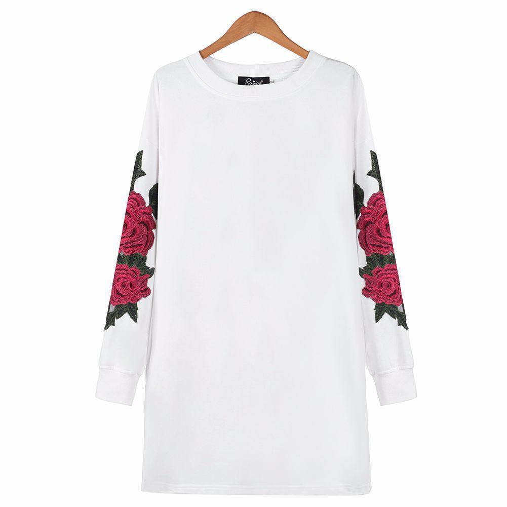 Sudaderas con capucha para mujer Sudaderas para mujer Emboridery Primavera Negro Blanco Flor de rosa Largos Jerseys O-cuello 2021