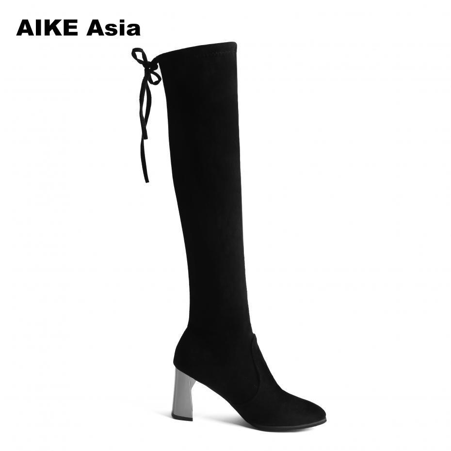 526b950c54b 2018 Faux Suede Women Boots Sexy Stretch Slim Over The Knee Boots Female  Autumn Winter Thigh High Shoes Woman Botas Mujer Platform Boots Chelsea Boot  From ...