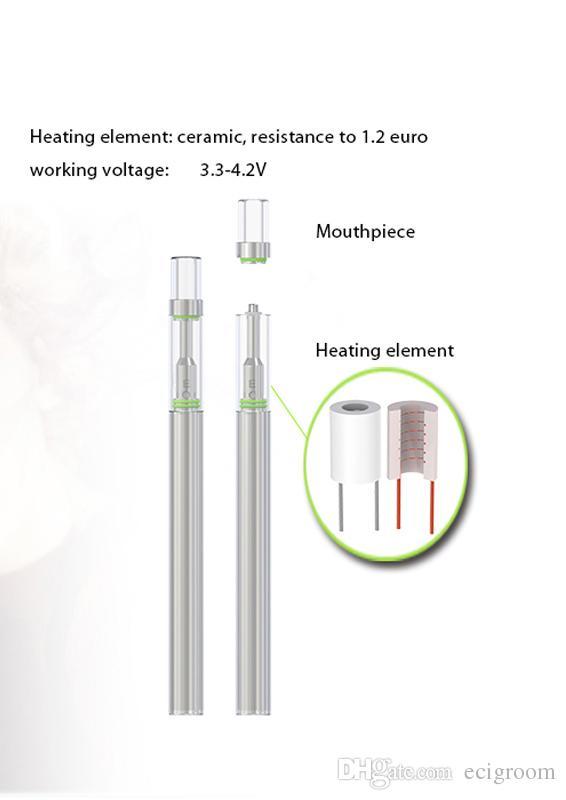 Disposable Starter Kit Bud D1 Ceramic coil Cartridge Vape Vaporizer Pen 0.5ml Empty Cartridge Wax Oil Vape Pen Kit