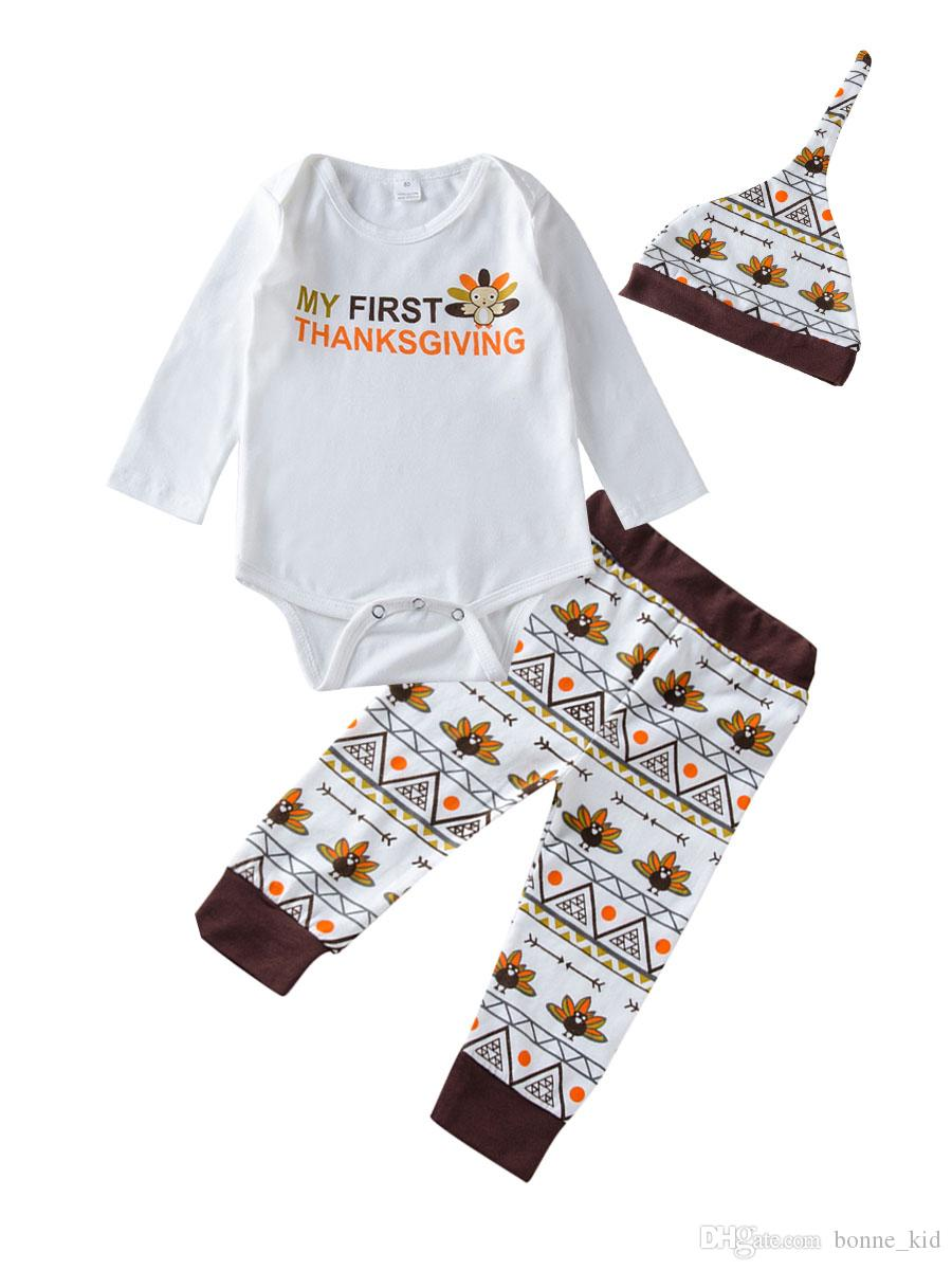 5f679bb95d6 Newborn Baby Boys Girls Clothes My First Thanksgiving Romper Pants Hat Set  Outfits Baby Turkey Geometric Kid Clothing Boutique 0 18M UK 2019 From  Bonne kid