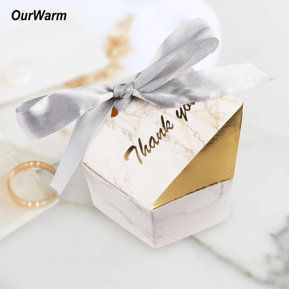 Ourwarm Baby Shower Gifts Box For Guests Marble Style Candy Boxes