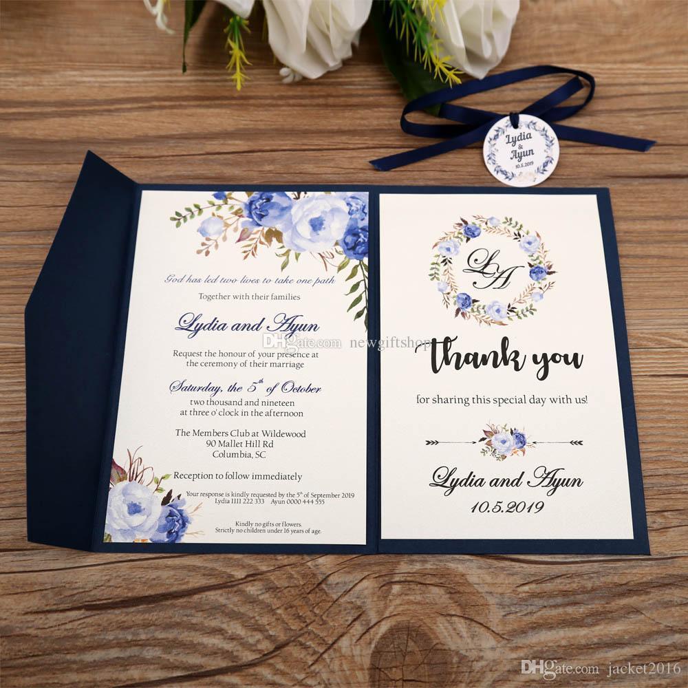 trifold pocket wedding invites 2019 navy blue printable customized