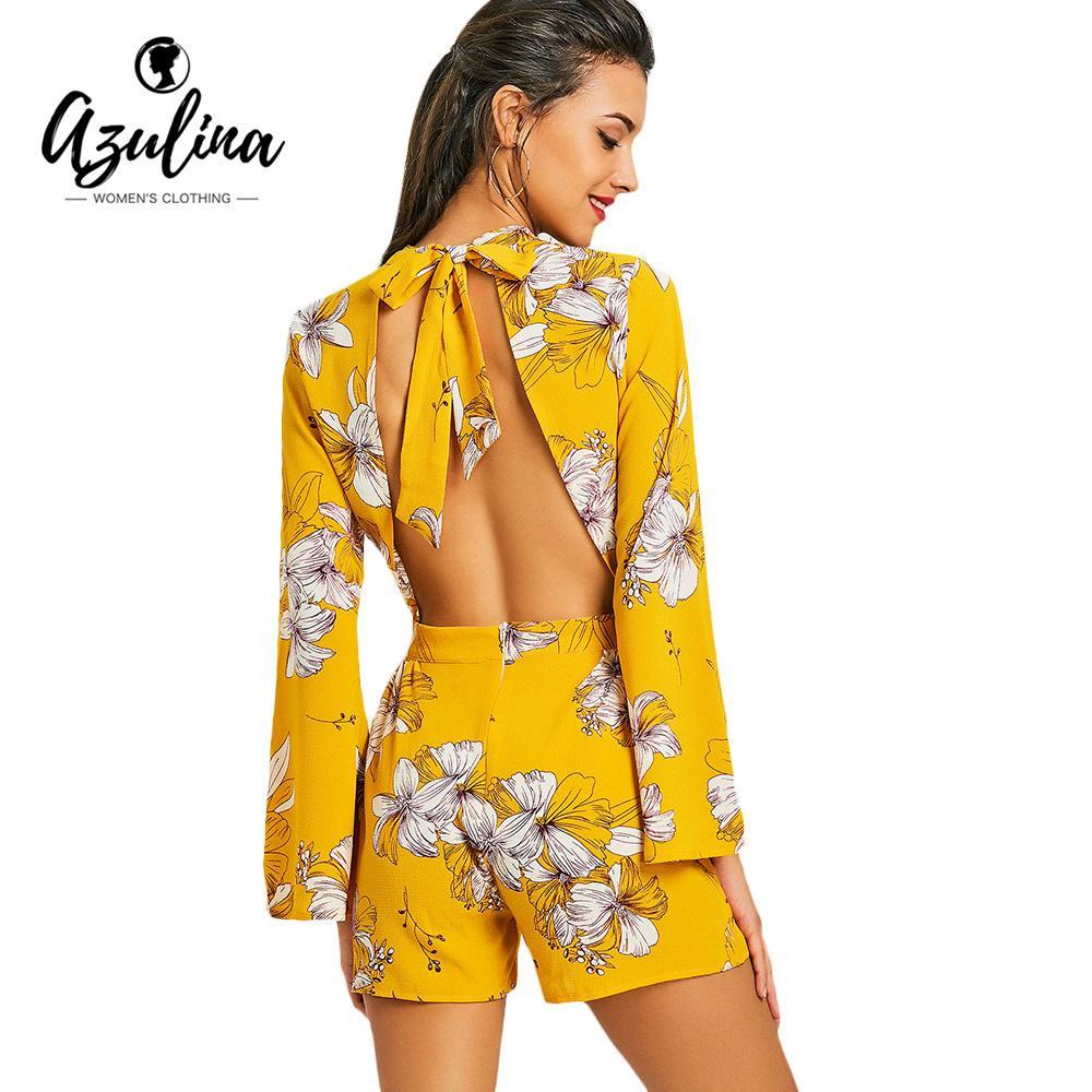 bc8894e4e4c 2019 AZULINA Sexy Open Back Drawstring Floral Bowknot Romper ...