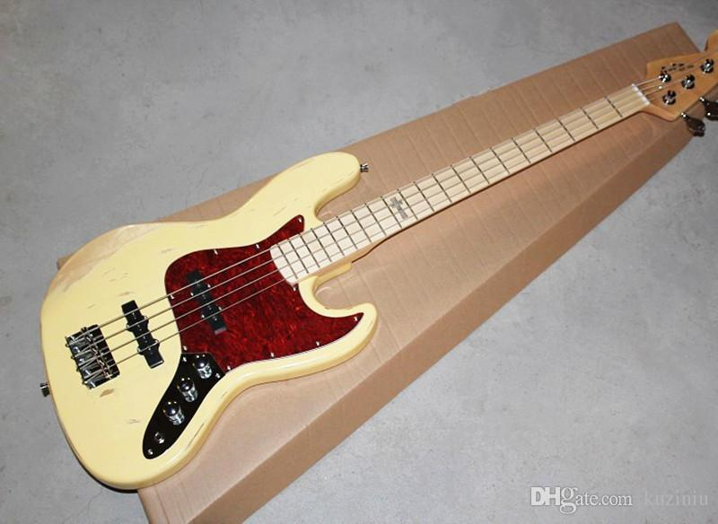Yellow Vintage Electric Bass Guitar with Reverse Headstock,Maple Fingerboard,Offer Customized