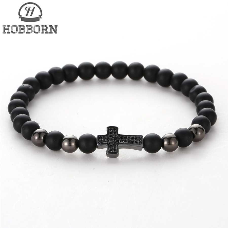 3cc436aa1be4 Compre HOBBORN Moda Negro Onyx Beads Hombres Pulsera Hecha A Mano De Piedra  Natural Curación Reiki Oración Mujeres Hombres Cruz Pulseras Cruz A  13.43  Del ...
