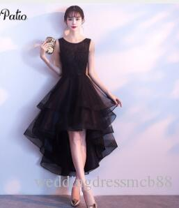 PotN Patio High Low Black Prom Dresses 2018 Elegant Shoulder Straps  Sleeveless Short Prom Dresses