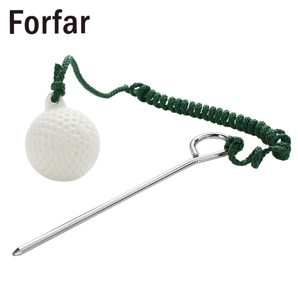 Durevole Golf Rope Ball Trainning Balls Rope Golf Ball Pratico portatile Green Metal Retriever Swing Practice Stick