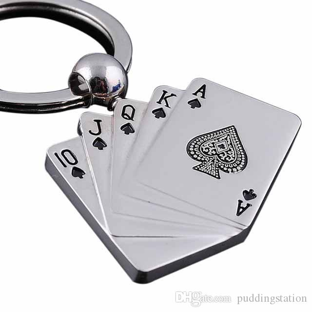 New Cool Creative Model Alloy Metal Keychain Poker Keychain Ring Keyfob For Women Men