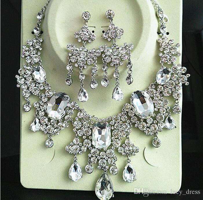 High Quality Crystals Wedding Bride Jewelry Accessaries Set Earring + Necklace Crystal Leaves Design With Faux Pearls HKL526