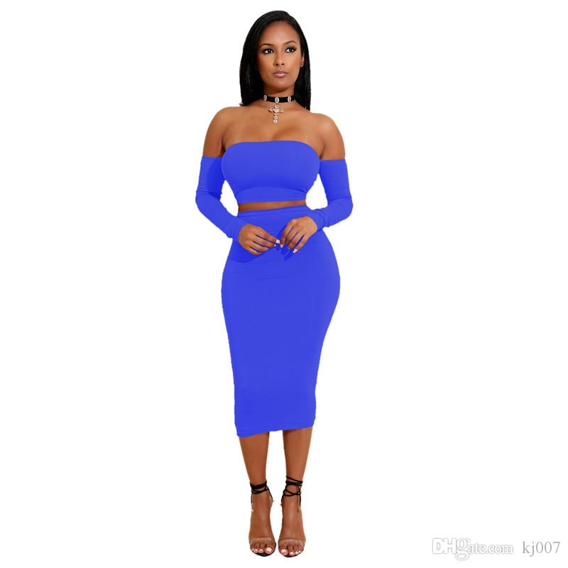 Hohe Qualität Sommer Dodycon Kleid zweiteilige Set Frauen Jumpsuits Strampler Dame Sexy Halter Spitzenkleid Anzüge Langarm Tops Tees Großhandel