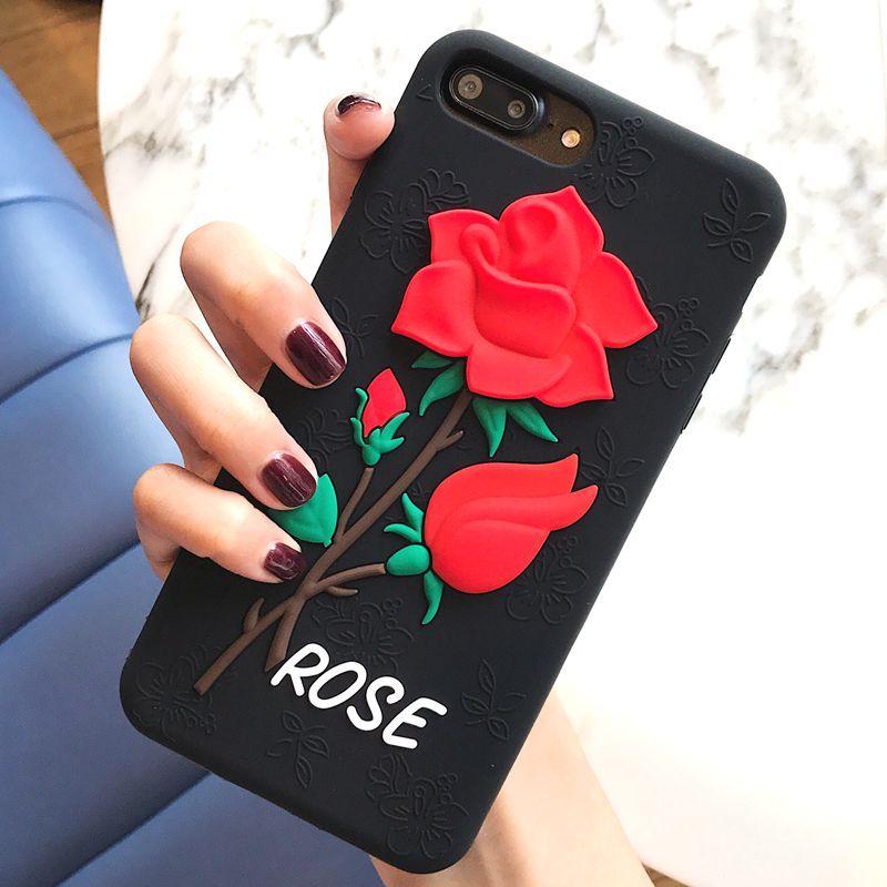 Housse De Téléphone Portable Luxe Mode 3D Rouge Rose Fleur Téléphone Cas  Pour IPhone 7 6 6 S Plus Fille Femmes Élégant Vintage Couverture Arrière  Pour ... b1d8be6d128