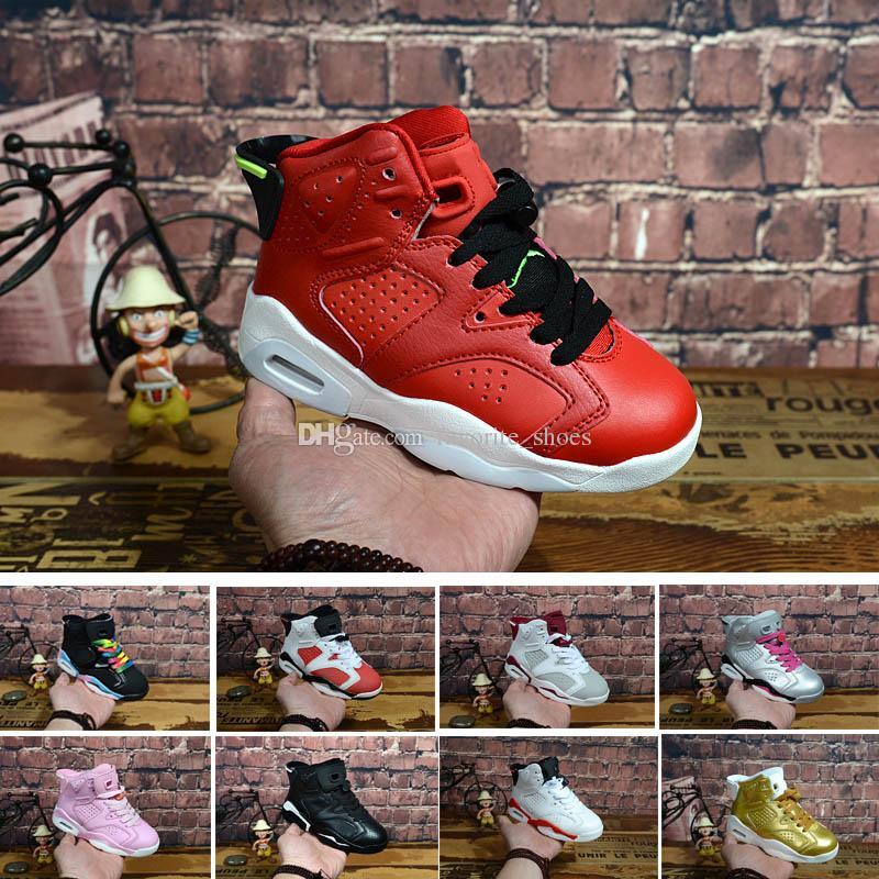 sale retailer 8d26d 609d9 Großhandel Nike Air Jordan 6 12 13 Retro 6 Carmine Basketball Schuhe Kinder  6s Unc Schwarz Blau Weiß Infrarot Jungen Mädchen Oreo Schwarze Katze  Athletic ...