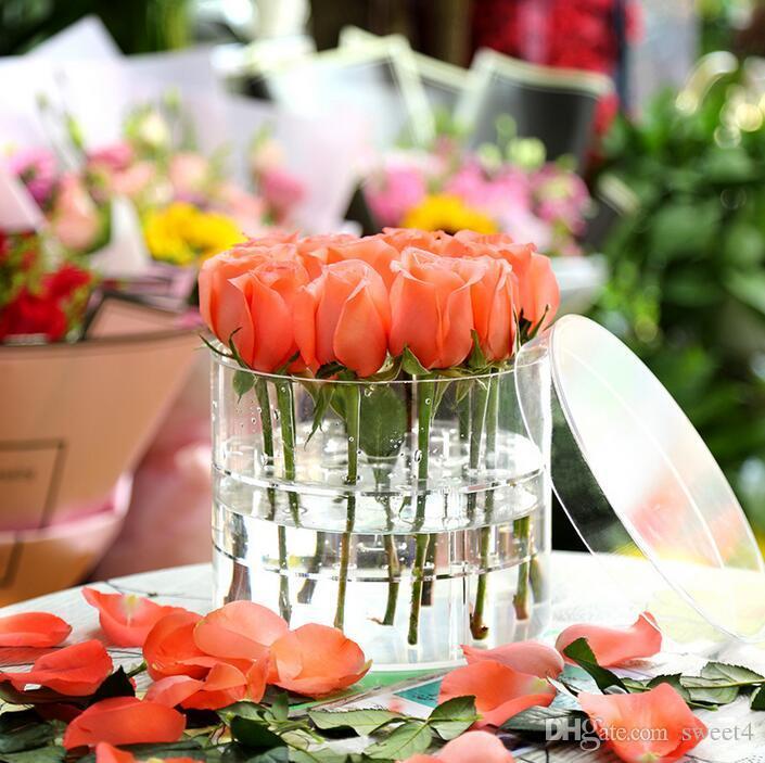 Yuvarlak Şeffaf Akrilik Gül Çiçek Kutusu Makyaj Organizatör Lüks El Yapımı Hediye Kutusu Sevgililer Günü Mahrem Hediye